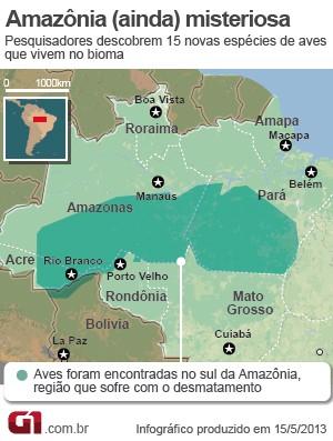 Mapa Aves da Amazônia (Foto:  )