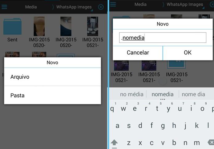 Este arquivo é o responsável por ocultar a pasta de imagens do WhatsApp (Foto: Reprodução/Carol Danelli)