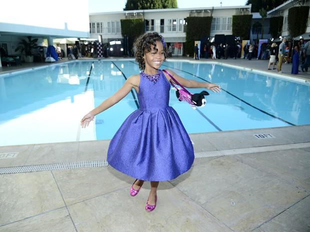 A atriz Quvenzhané Wallis, de 'Indomável sonhadora', no almoço dos indicados ao Oscar 2013 nesta segunda-feira (4) em Beverly Hills (Foto: Kevork Djansezian/AFP)