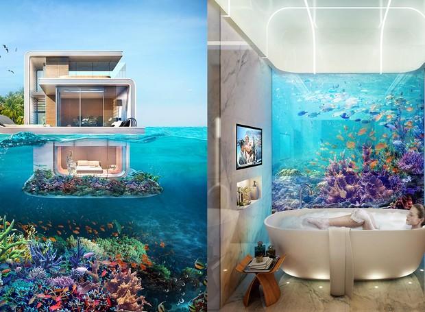 O banheiro e o quarto serão instalados no andar submerso e terão vista para o recife de coral (Foto: Reprodução/THOE)