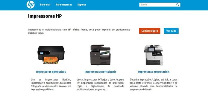 HP divide produtos entre Domésticos, Profissionais e Empresariais (Foto: Reprodução/HP)