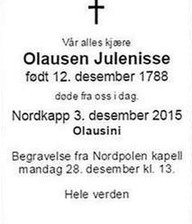Jornal norueguês se desculpou ao dizer que Papai Noel morreu aos 227 anos (Foto: Reprodução)