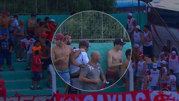 Torcedor é atingido por pedrada durante Veranópolis x Inter  (Foto: Reprodução / RBS TV)