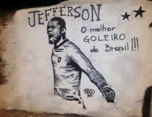 Jefferson muro ídolos Botafogo (Foto: Divulgação)