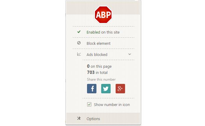 Extensão possui mais recursos além do bloqueio de anúncios (Foto: Reprodução/Adblock Plus)