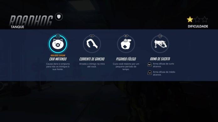 Habilidades de Roadhog em Overwatch (Foto: Reprodução/Felipe Vinha)