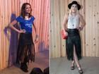 Sophia Abrahão e Agatha Moreira usam saias iguais no Lollapalooza
