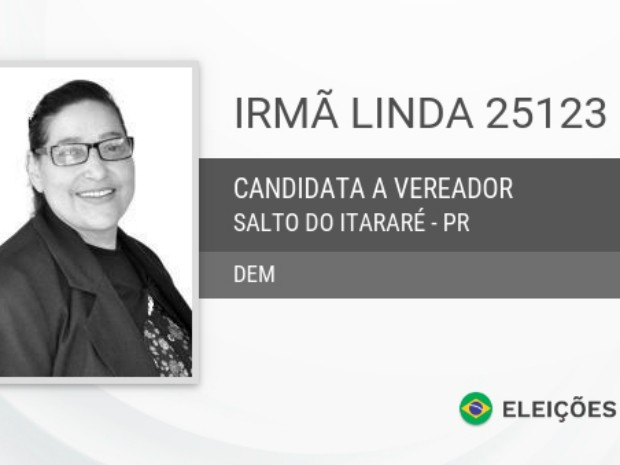 A vereadora Irmã Linda (DEM) foi eleita para compor a Câmara Municipal de Salto do Itararé com 118 votos (Foto: Reprodução / Eleições2016)