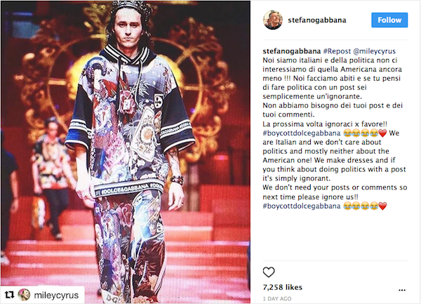 A resposta do empresário Stefano Gabbana a Miley Cyrus (Foto: Instagram)