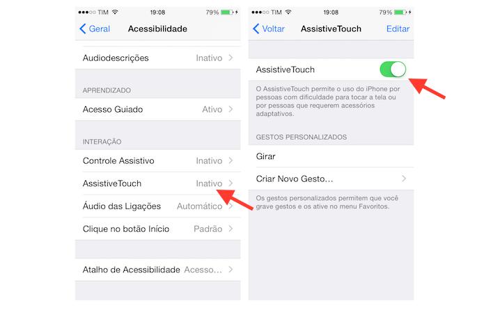 Ativando a ferramenta AssistiveTouch do iPhone (Foto: Reprodução/Marvin Costa)