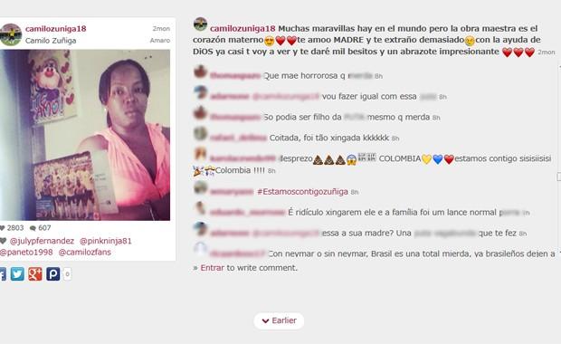 Internautas ofendem mãe de Zuñiga no Instagram neste domingo (6) (Foto: Reprodução / Webstagram)