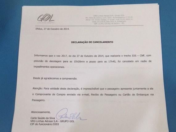 Documento voo cancelado Ilhéus (Foto: Fabiano Ferreira/Divulgação)