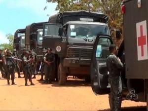 Operação mobilizou 550 militares do Exército Brasileiro em Oiapoque (Foto: Reprodução/TV Amapá)