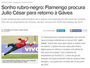 Júlio César no Flamengo print (Foto: Reprodução)