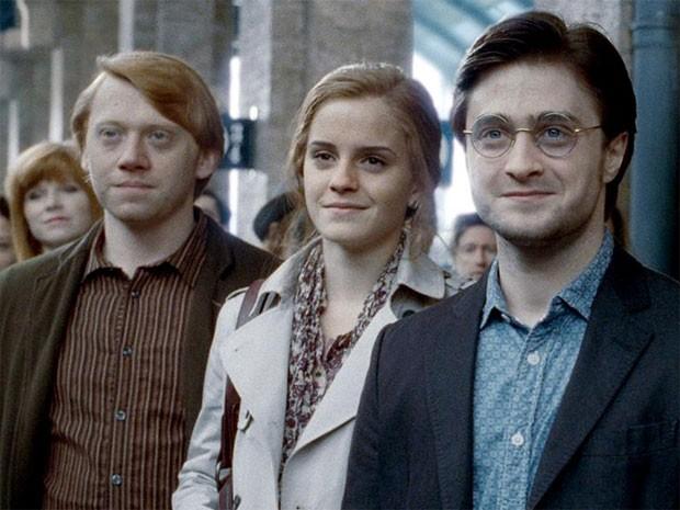 Ron Weasley (Rupert Grint), Hermione Granger (Emma Watson) e Harry Potter (Daniel Radcliffe) em 'Harry Potter e as relíquias da morte – Parte 2' (Foto: Divulgação)