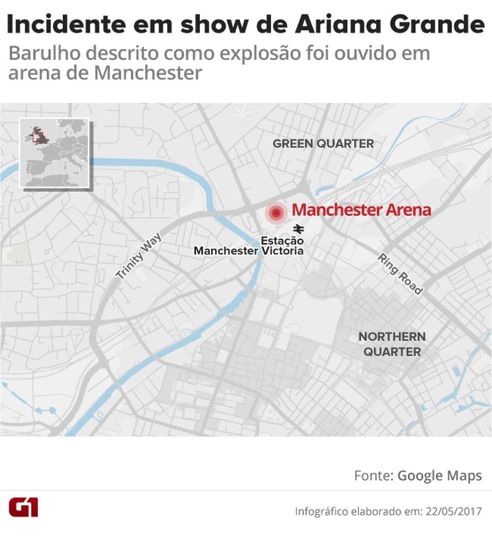 Arena Manchester explosão mapa (Foto: Editoria de Arte/G1)