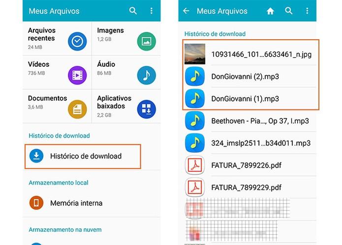 Abra os arquivos salvos em downloads no Android (Foto: Reprodução/Barbara Mannara)