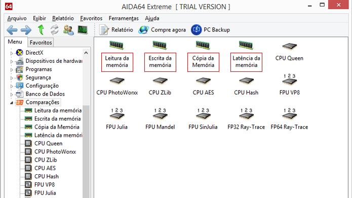 Aplicativo possui várias opções de testes de memória (Foto: Reprodução/AIDA64)