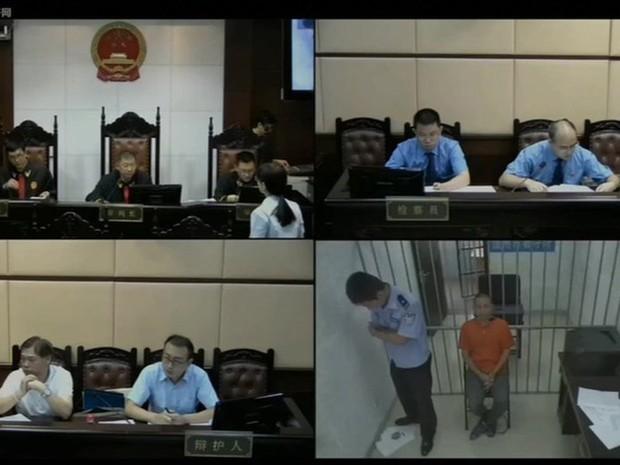 China passou a transmitir ao vivo pela internet uma série de julgamentos (Foto: China People's Court/ Reprodução/ BBC)
