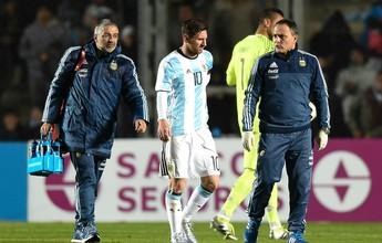 """Messi tem contusão """"importante"""" na região lombar, aponta diagnóstico"""