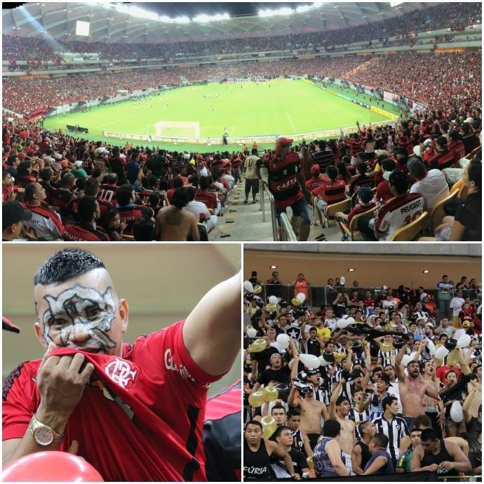 Mosaico - Torcida Botafogo e Flamengo na Arena Amazônia (Foto: GloboEsporte.com)