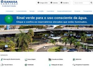 Sanasa divulga sinal verde para consumo de água nesta segunda (19) em Campinas (Foto: Reprodução / Site)