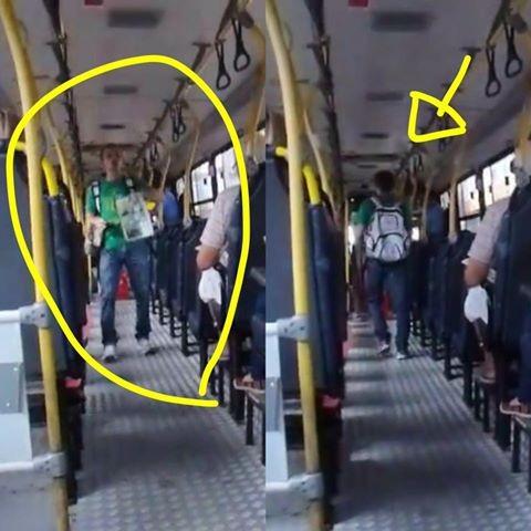 O professor dá aulas no transporte público (Foto: Reprodução/Facebook)