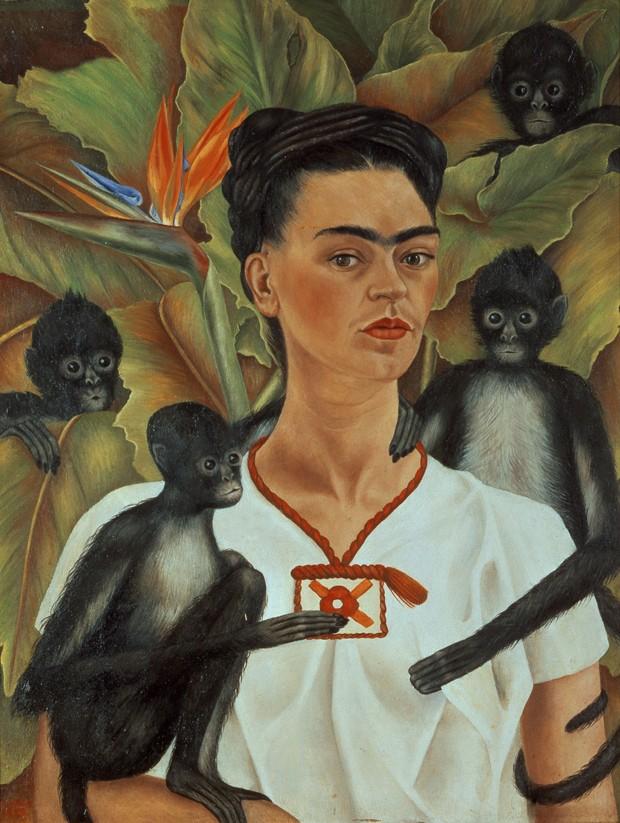 Frida Kahlo, 'autorretrato con monos - 1943' (Foto: Guelman Collection 2015 Banco de México Diego Rivera & Frida Kahlo Museums Trust/ Divulgação)