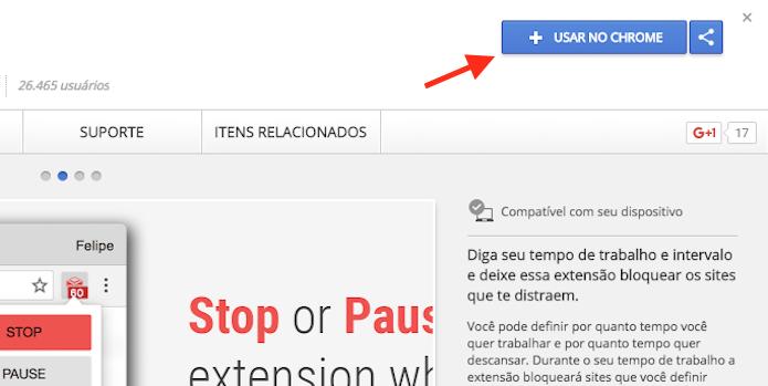 Opção para preparar o download da extensão Block & Focus para Google Chrome (Foto: Reprodução/Marvin Costa)