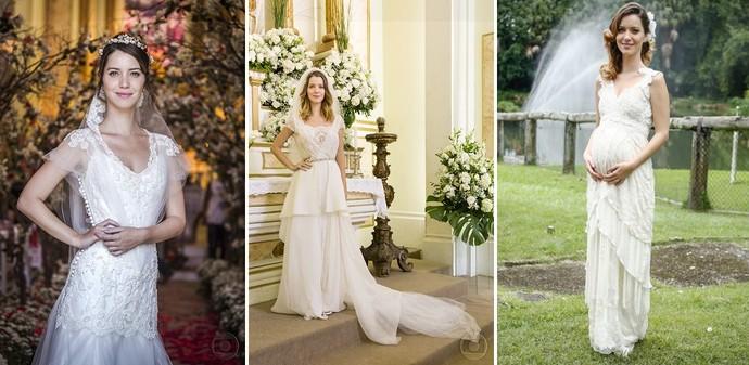 Os vestidos usados pela personagem Laura, de 'Alto Astral' (Foto: Paulo Belotti/TV Globo; Cedoc/TV Globo; Raphael Dias/Gshow)