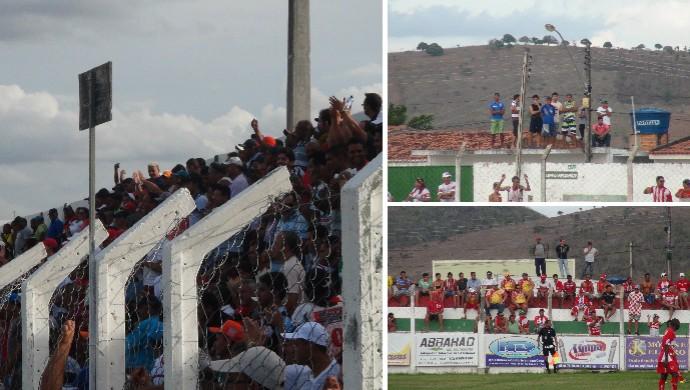 Torcedores de Olho d'Água das Flores assistir ao jogo de fora do estádio (Foto: Denison Roma / Globoesporte.com)