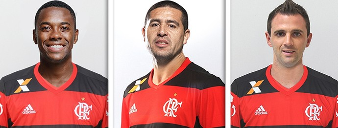 Montagem, Robinho, Montillo e Riquelme Flamengo (Foto: Editoria de Arte)