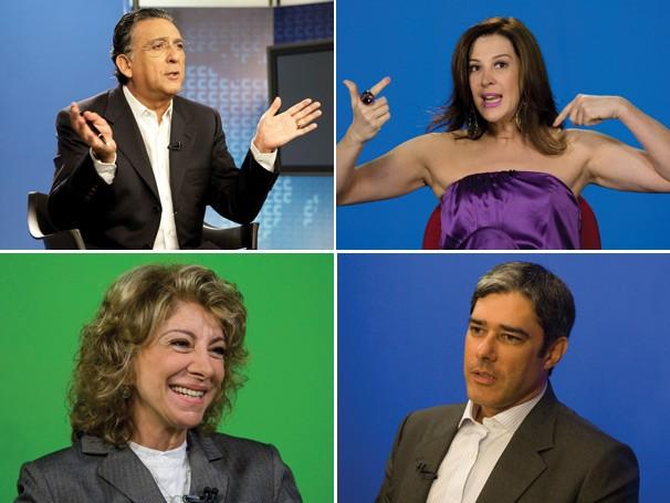Galvão Bueno, Claudia Raia, William Bonner e Marília Pêra gravam depoimentos para o Globo Memória (Foto: Divulgação Rede Globo)