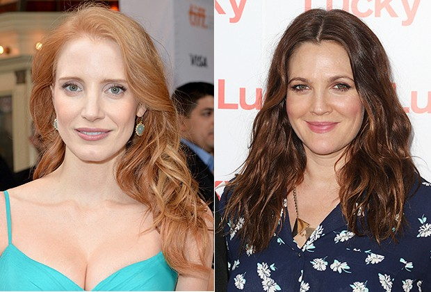 AS ATRIZES JESSICA CHASTAIN E DREW BARRYMORE: FIOS ONDULADOS PERFEITOS (Foto: Getty Images)