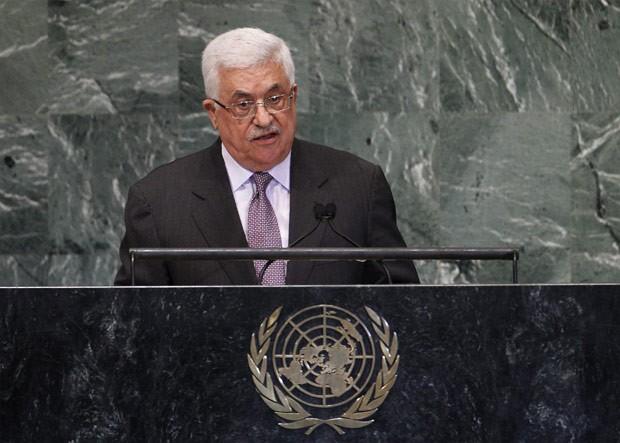 O presidente palestino, Mahmoud Abbas, fala nesta quinta-feira (27) na Assembleia Geral da ONU (Foto: AFP)
