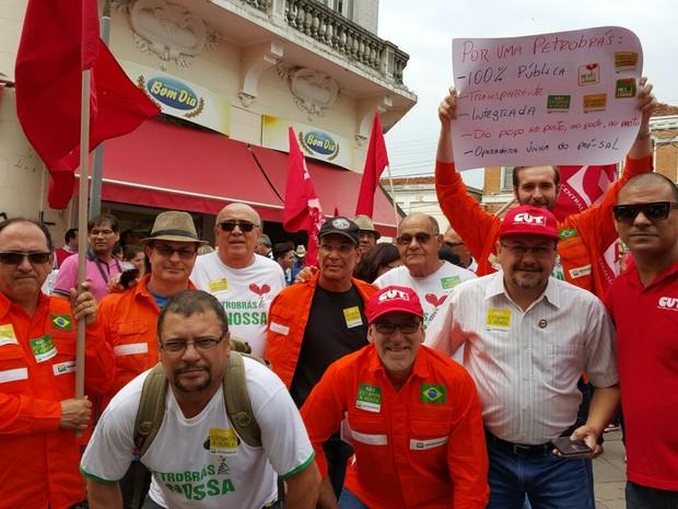 Petroleiros realizam ato em defesa da Petrobrás no Centro de Campians (SP) (Foto: Sindipetro Unificado-SP)