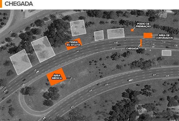 Mapa Meia do Rio, chegada (Foto: Editoria de Arte / EUATLETA.COM)
