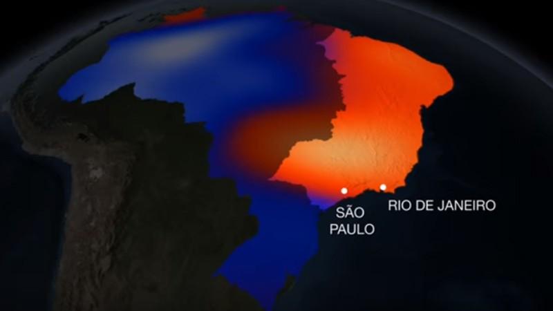 Em vermelho, as áreas que mais perderam água (Foto: Reprodução/NASA)