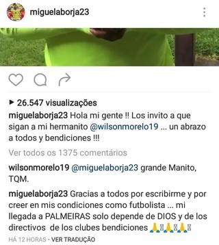 Borja post Instagram Palmeiras (Foto: Reprodução/Instagram)