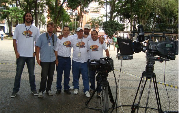 Integração dos profissionais de BH de Juiz de Fora no Parque Halfeld (Foto: Leonardo Rui / TV Globo Minas)