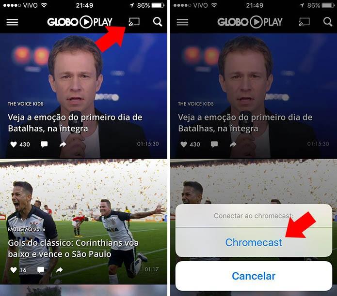 Toque no novo botão para conectar ao Chromecast (Foto: Reprodução/Paulo Alves)