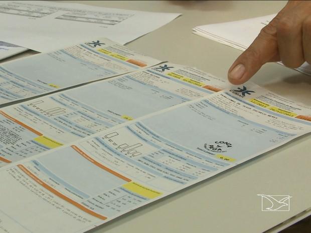 Contas de energia elétrica da Cemar (Foto: Reprodução/TV Mirante)