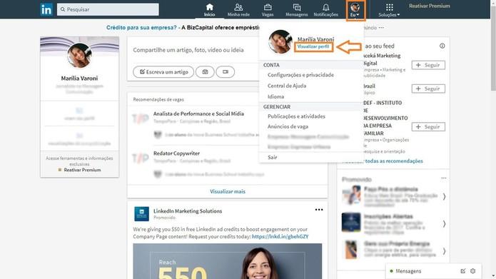 LinkedIn te ajuda a ter um currículo sempre atualizado (Foto: Reprodução/Marília Varoni)