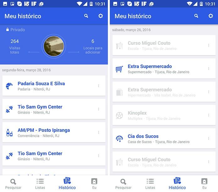 Foursquare mostra locais visitados em duas cores para diferenciar sugestões do app (Foto: Reprodução/Elson de Souza)