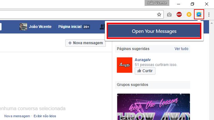 Extensão para Chrome apaga todas as mensagens do Facebook (Foto: Reprodução/Chrome) (Foto: Extensão para Chrome apaga todas as mensagens do Facebook (Foto: Reprodução/Chrome))