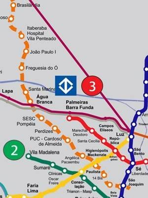 Detalhe do futuro mapa da rede com traçado da linha 6 (Foto: Divulgação/Metrô)