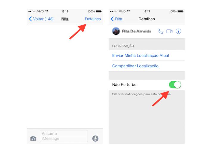 Ativando a opção Não Pertube para um contato no aplicativo Mensagens do iOS 8 (Foto: Reprodução/Marvin Costa)