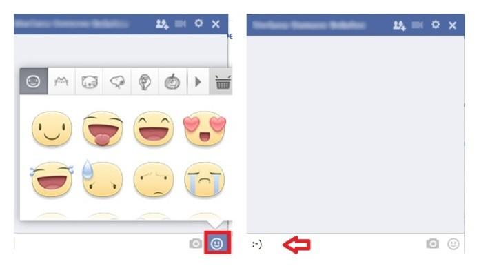 Incluindo emoticon durante uma conversa no chat do Facebook (Foto: Reprodução/Lívia Dâmaso)
