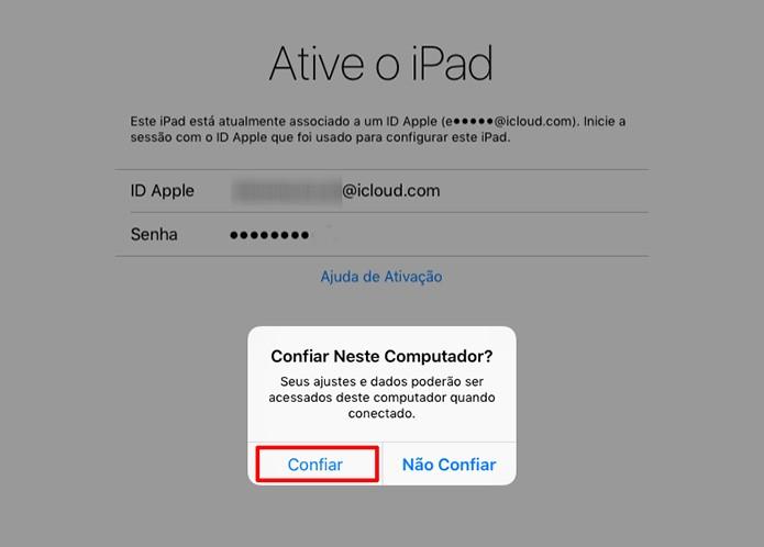 iPad perguntará se usuário deseja confiar no computador para ativar iOS 9.3 (Foto: Reprodução/Elson de Souza)