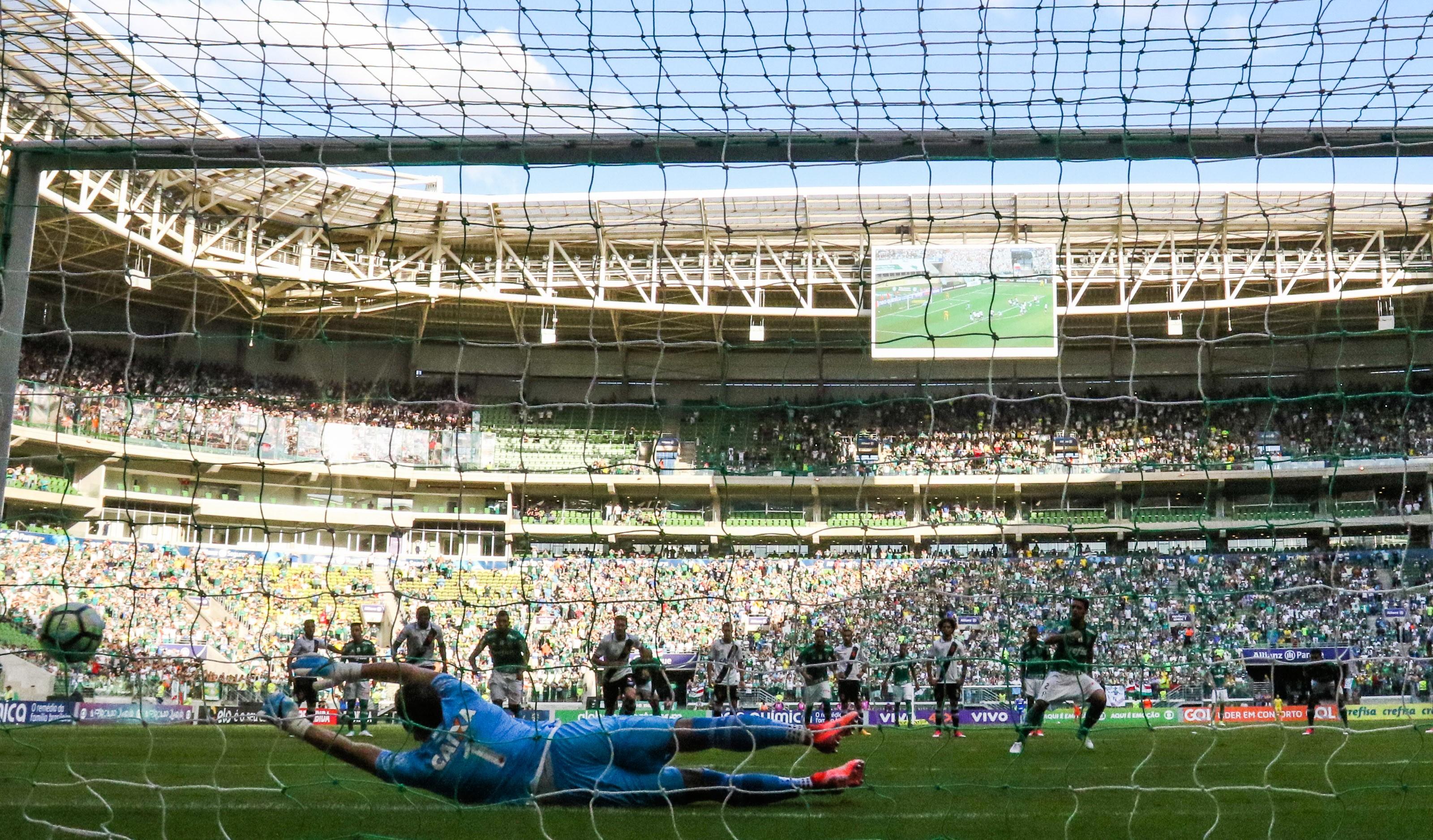 O primeiro gol do Palmeiras contra o Vasco na primeira rodada do Campeonato Brasileiro de 2017 (Foto: Getty Images/ Alexandre Schneider)